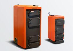 Оранжевый котёл отопления на твёрдом топливе