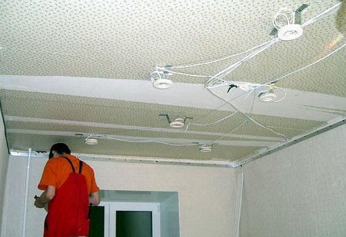 Устройство светильников в натяжной потолок